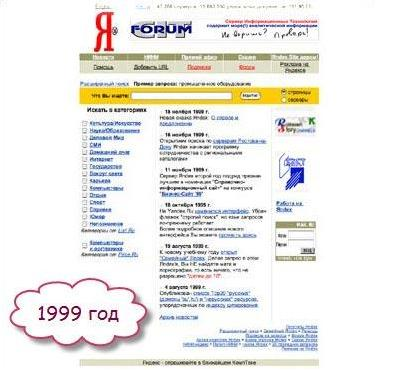 Дизайн Яндекса в 1999